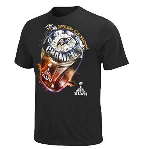 Majestic Baltimore Ravens Super Bowl XLVII Champions Victory Bling V T-Shirt Small