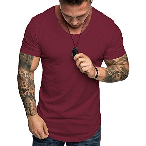 Men's Hoodie Short Sleeve Shirts,Casual O-Neck Pullover Slim Fit Workout Solid Top Blouse (Wine Red, - Crew Brushed Twill