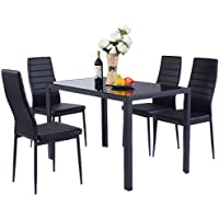 Giantex 5 Piece Kitchen Dining Set Glass Metal Table and...