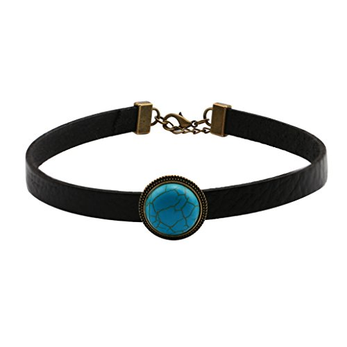 Collar Black Women Leather - Yunhan Natural Turquoise and Flat Black Leather Choker Necklace Retro Collar for Women Adjustable 14''