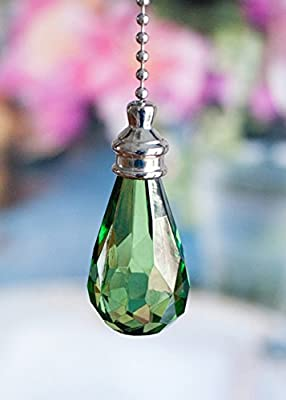 2 of Gorgeous Green Crystal Rain Drop Ceiling Lighting Fan Pulls