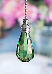 2 of Gorgeous Green Crystal Rain Drop Ceiling Lighting Fan Pulls
