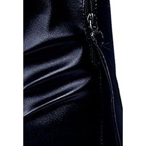 casual Zapatos negro botas mujer invierno Black PU de de Confort tacón cuña Toe HSXZ para Round gd6qw1AA
