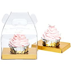 Yotruth Bakery Cupcake Box Clear Single With Handle and Gold Insert 10 Pack