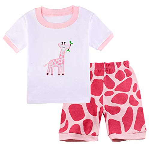 (Girls Pajamas Summer Kids PJs Toddler Cotton Shorts 2-Piece Set Giraffe Clothes Size 4)