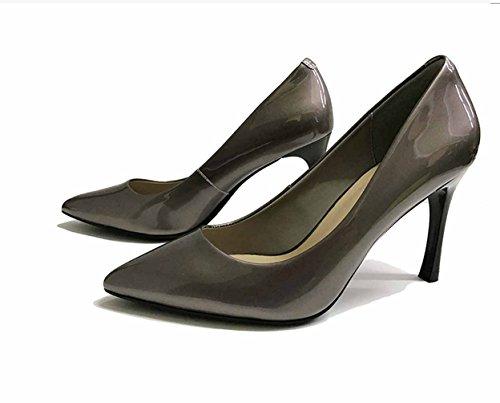 Chaussures 39 à Chaussures Loisir Transparent Doré Classique Soiree Club Femmes Inconnu Talons Stiletto 2018 Nouveau Espigones Microfibre Bureau Bout Pointu Vernis Femmes SdCw1nq5ax