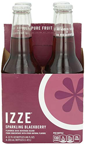 IZZE Sparkling Juice, Blackberry, 12 oz Glass Bottles, 4 Count