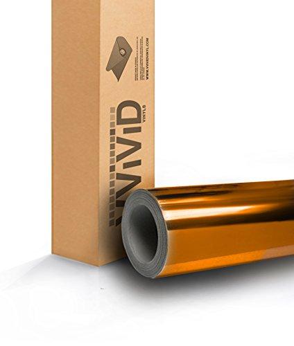 (Gold mirror chrome cast vinyl wrap for car, boat, bike 2ft x 60