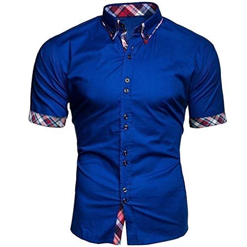 Big Sale! Fastbot Men's Short Sleeve Shirt Lapel Button Plaid Stitching Business Polo T-Shirt Blue