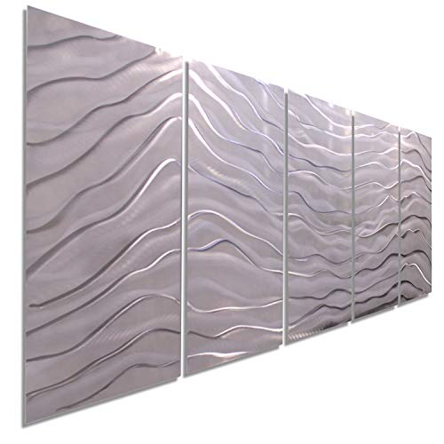Extra Large Silver Metal Wall Art - Abstract, Contemporary Accent
