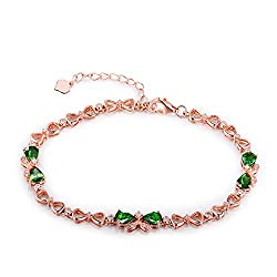 White/Rose Gold Green Garnet Tsavorite Diamond Bracelet