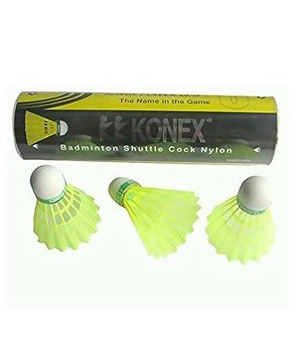 KONEX Yellow Nylon Badminton Shuttle Cock  Pack of 6 Shuttlecocks