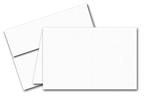 White Classic Linen Blank Fold Over Greeting Cards and Classic Linen Envelopes, 4-1/2 X 6-Inches or 5 X 7-Inches, Pack of 25 (5