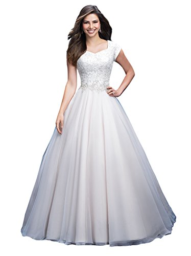 Train Short Sleeve Satin (MythLove Women's A-Line Bridal Gown Short Sleeve Tulle Satin Sweep Train Button Princess Wedding Dress Lvory 26w)