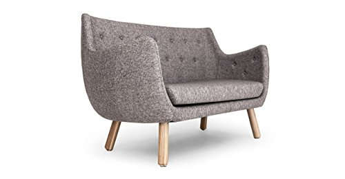 Grey Tailored Twill Sofa with Ash Hardwood Legs Photo