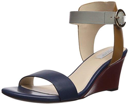 Blue Ridge Leather (Cole Haan Women's Blakely Wedge Sandal, Marine Blue/Rock Ridge Leather, 9.5 B US)