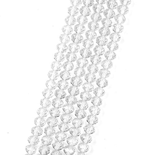 - 2 Strands Top Quality Czech Rondelle Crystal Loose Beads 6mm Glass Spacer Crystal Clear (~180-184pcs) for Jewelry Craft Making CCR601