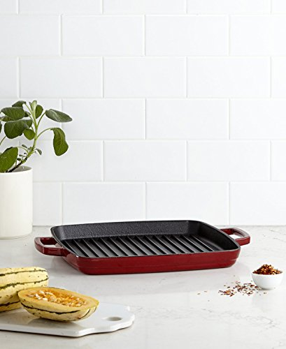Martha Stewart Enameled Cast Iron Cookware (Collector's Enamled Cast Iron Grill Pan | Exceptional Quality Indoor Grilling Right In Your Home Kitchen | By Martha Stewart (Cranberry))