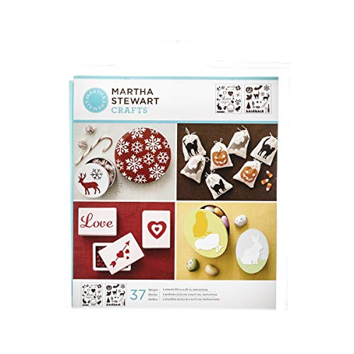 (Martha Stewart Crafts Medium Stencils (8.75 by 9.75-Inch), 32260 Holiday Icons (2 Sheets with 37)