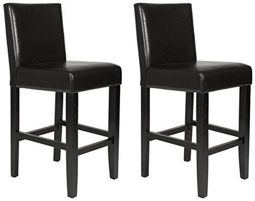 Roundhill Furniture Citylight Counter Height Barstools (Set of 2), Espresso