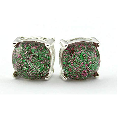 Latest Earrings Fashion New Style (Ivy & Clover Preppy Collection Post Stud Style Earrings (Silvertone Square Confetti Glitter Stud Jade Green))