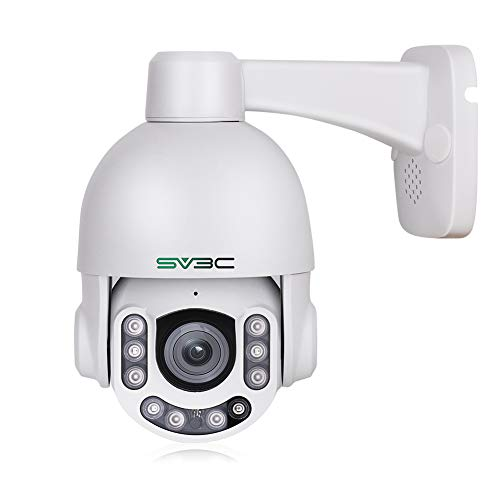 PTZ POE Camera Outdoor 5MP with Built-in Microphone for Two Way Audio, SV3C 10 LEDs Super HD Pan Tilt 5X Zoom Security Surveillance Dome IP Camera, Support SD Card Recording up to 128gb(HX Series)