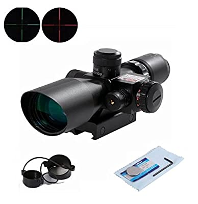 U-ZM Rifle Scope Red Dot Tactical 2.5-10x40 Red Laser Dual Illuminated Mil-dot w/ Rail Mount by U-zm