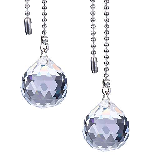 Hestya 2 Sets Clear Crystal Pull Chain Extension with Connector for Ceiling Light Fan Chain, 1 Meter Length Each (Style A) ()