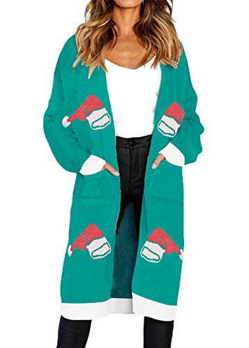 FAFOFA Womens Cardigan Sweater Christmas Snowman Print Long Sleeve Open Front Knit Midi Sweater Coat Outwear Green S