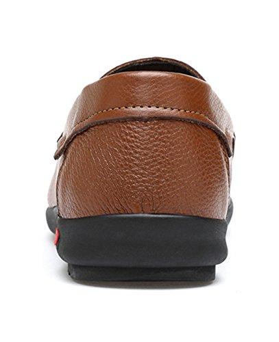 Tda Hombres Casual Slip-on Transpirable Cuero Senderismo Penny Loafers Zapatos De Conducción Marrón
