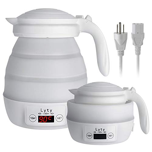 Foldable Travel Electric Kettle - Variable Temper Control [Dual Voltage] Fast Water Boiling-Separable Cord-Portable-Food Grade Silicone Collapsible Small Kettle-.8L 110v/120v and 220v/240v 850W(White)