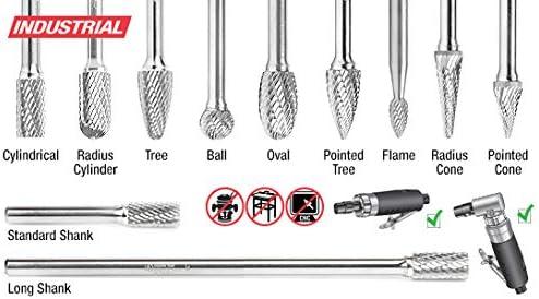 Amana Tool BURS-080 Solid Carbide Cylindrical Shape with End Cut 1//8 Dia x 9//16 x 1//8 Sh