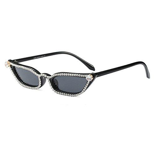 MINCL/Super Cute Small Sexy Cat Sunglasses Womens Lady Diamond Design Bling Bling Eyewear (black)