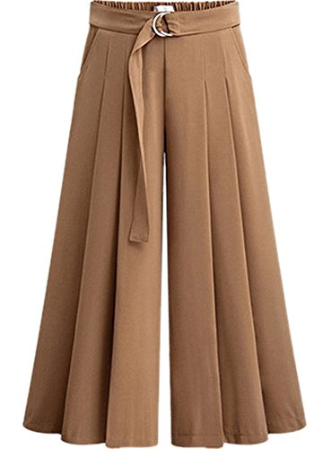 Women Fashion Plus Size High Waist Belted Pleated Palazzo Dress Pants Suits (Ladies Plus Pleated Dress Pants)