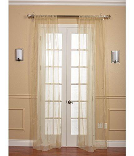 Half Price Drapes SHCH-ORG6-96-PR Pair Solid Faux Organza Sheer Curtain, 2 Panels, Gold ()