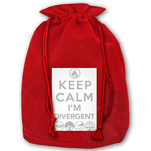 NELOHA Bags Santa Sack with Drawstring, Keep Calm I'm Divergent Reusable Fabric Present Wrapping - Divergent Supplies Party Birthday