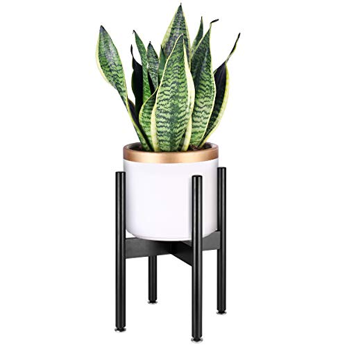 (HOMEMAXS Plant Stand Mid Century Wood Flower Pot Holder Indoor, Modern Display Potted Rack Home Decor, Black, Up to 10 Inch Planter (Planter Not)