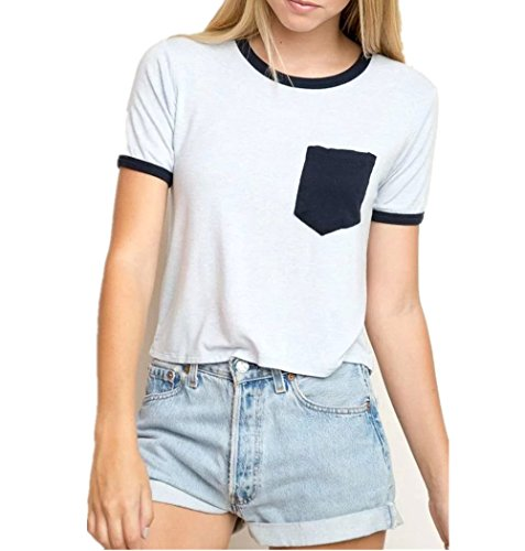 Uideazone Womens Harajuku Pocket Crop Top Hipster Cotton T Shirt Tee for Teens