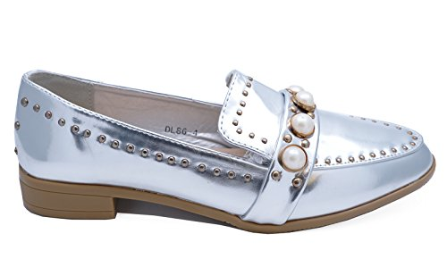 HeelzSoHigh Ladies Silver Pearl Slip-on Flat Loafers Smart Casual Work Patent Shoes Sizes 3-8 Qp9XCO4BN8