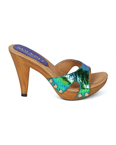 Media Sandal Heel Collection Iridescent HH06 Green Out Snakeskin Women Peacock Mix Open by Toe Cut MackinJ Alrisco 0qax8wC