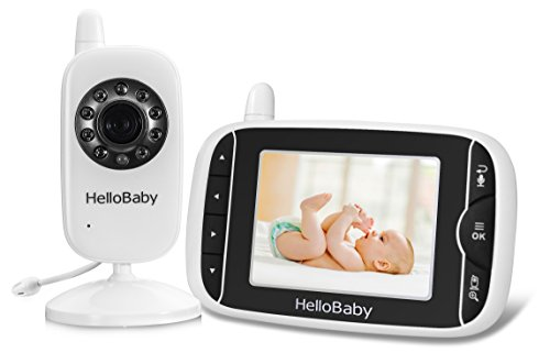 HelloBaby Video Audio Baby Monitor With 2.4GHz Wireless Technology, 3.2 Inch LCD Screen, Night Vision, Temperature Monitoring, Lullaby Playing & Two Way Talk System 3.2'' LCD Display by Hello Baby
