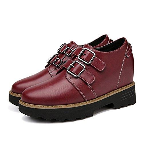 forme Mode Chaussusre Loafers de Casuel Lacets Femme sans Plate Confortable JRenok Rouge 40 Mocassin Basket Punk 35 w8qtH