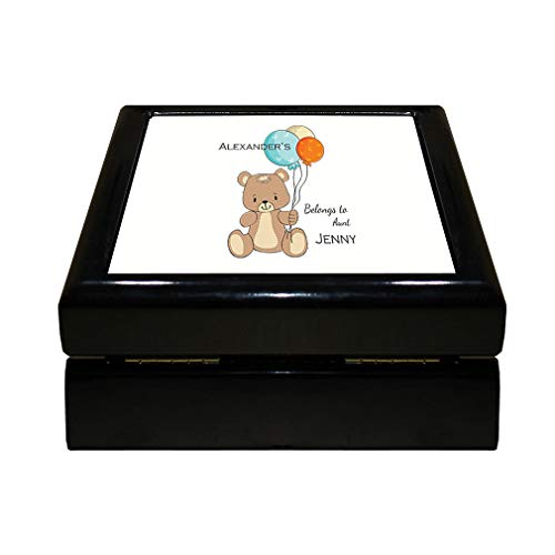 Collectible Teddy Ceramic (Style In Print Personalized Custom Text Aunt New Baby Teddy Bear Wood Organizer Jewelry Box 4