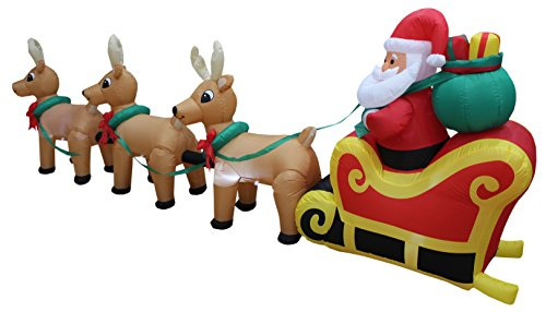 12 Foot Long Lighted Christmas Inflatable Santa Claus on Sleigh with 3 Reindeer and Christmas Tree Yard Decoration by BZB Goods (Image #2)'