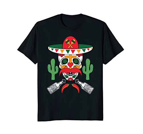 (Cinco De Mayo Sugar Skull With Cactus Mexican Pride T-Shirt)