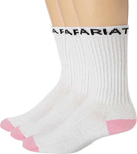 Ariat Women's Ariat Crew Sport Sock 3-Pack White/Pink MD (Ariat Womens Socks)