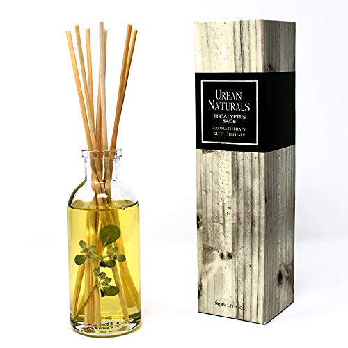 Urban Naturals Eucalyptus Sage Reed Diffuser Oil Gift Set | Eucalyptus, Sage, Mint, Lime & Cedarwood Essential Oils| Soothing & Relaxing Scent for Bathroom or Bedroom | Home Gift Idea. Vegan.