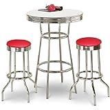 "36"" Tall Chrome Bar Table & 2 - 24"" Red Vinyl Seat Barstools"