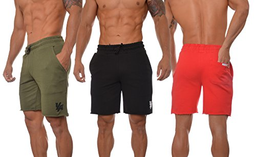 workout Products : Youngla Men's French Terry Solid Everyday Casual Activewear Workout Sweats Shorts