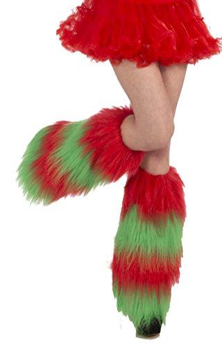 Forum Novelties Women's Christmas Fur Leg Warmers, Green/Red, One Size (Red Furry Leg Warmers)
